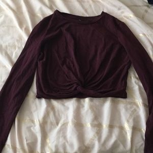 burgundy long sleeve cropped shirt